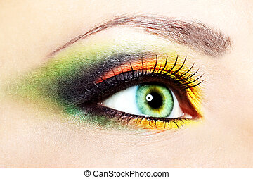 Beautiful eye makeup - Beauty female eye Makeup close-up
