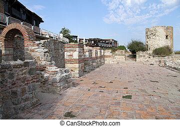 Ruins in Nesebar - Ruins of old fortress in Nesebar,...