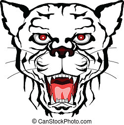 panther head tattoo tribal - vector illustration of panther...