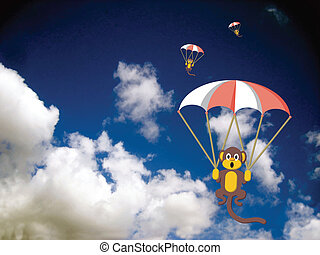 Monkeys with parachutes in the sky with traced clouds