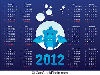 Calendar 2012 with dragon