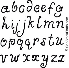 Vector alphabet, hand drawn letters