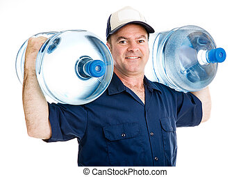 Strong Delivery Man - Strong water delivery man smiling as...