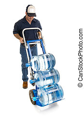 Water Delivery - Full Body Anonymous - Delivery man bringing...