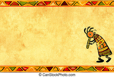 Grunge background with African traditional patterns -...