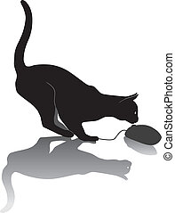 Cat hunts a computer mouse - vector illustration, game cat...