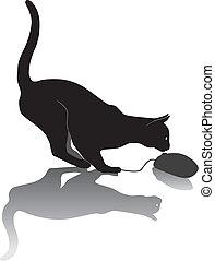 Cat hunts a computer mouse