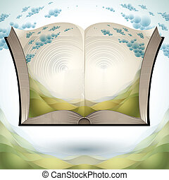Open book with nature landscape - Open book with nature...
