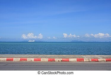 road sidewalk sea cloud and blue sky landscape - background,...