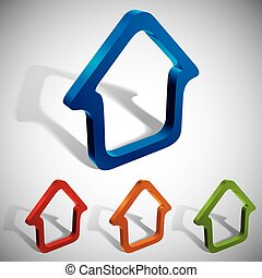 3d vector home icons. - 3d vector home icons design, color...