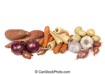 Root Vegetables Isolated on White - Variety of root...