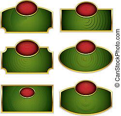 Simplistic labels with golden frames set Vector design...