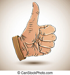 Thumb up like hand - Thumb up like hand symbol Vector...