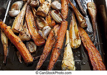 Roasting Carrots and Parsnips with Thyme