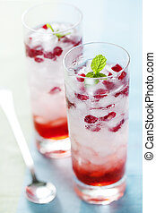 pomegranate drik - ice cold cocktail with pomegranate jewels