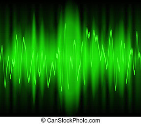 sound wave - green sound waves oscillating on black...