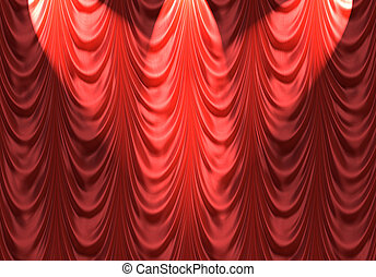 spotlight on red curtain - luxurious red velvet curtains...