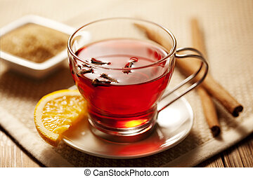toddy or mulled wine - inviting warm spicy drink with...