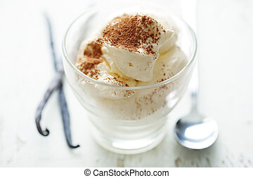 vanilla mousse - fresh vanill amousse, with cocoa powder as...
