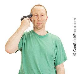 Depresivo, hombre, arma de fuego