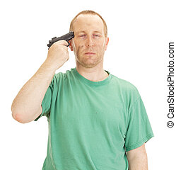 Depressive man with a gun