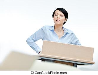 Pretty woman orator at the podium - Female presenter at the...