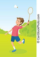 Boy playing badminton