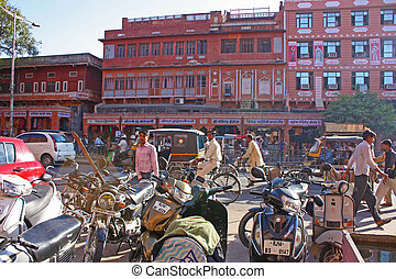 Streets of the pink city of Jaipur, Rajastan, India
