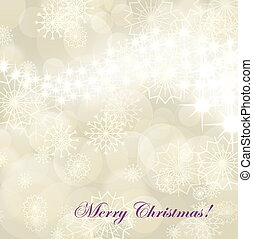 Christmas background with white snowflakes and fireworks