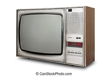 Old-fashioned tube TV isolated on a white background...