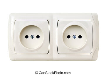 electrical outlet isolated on a white background...