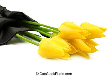 ramo, amarillo, flores