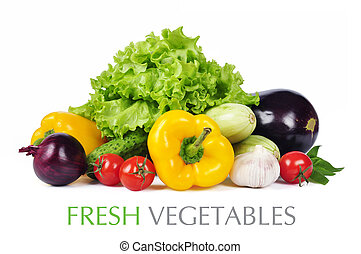 Fresh Vegetables - fresh vegetables with leaves isolated on...