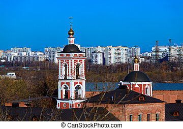 Aerial view of church and modern district, Chertanovo Yuzhnoe, Moscow