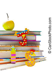 School is so much fun - Stack of books with funny letters...