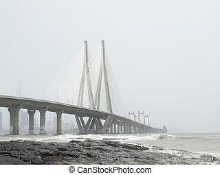 Mumbai bridge - Iron bridge at Mumbai, India, summer 2011