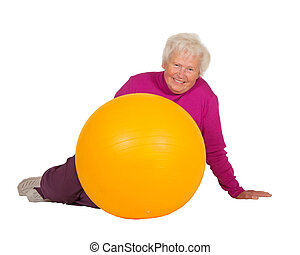 Healthy retired woman with gym ball - Healthy retired woman...
