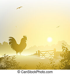 Cockerel, Rooster - A Misty Morning Landscape with Cockerel,...