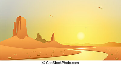 Desert Landscape - A Desert Landscape with River and...