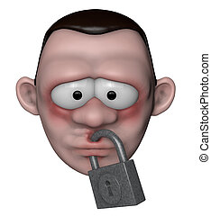 censorship - man with locked mouth - 3d illustration