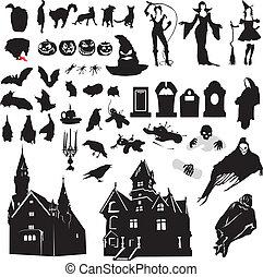 set of silhouettes symbolizing Hall - large set of isolated...