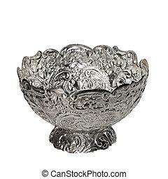 Silver bowl - Big engraved and shinny silver bowl dish
