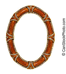 Zircon frame - Luxury oval frame with zircon stones isolated...