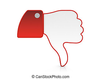 Thumb down - 3D illustration of thumb down icon isolated on...