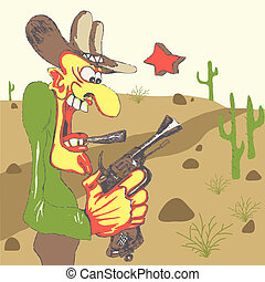 Western sheriff in western landscape - Western sheriff with...