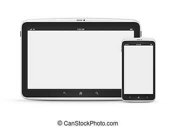 Digital tablet with mobile phone isolated