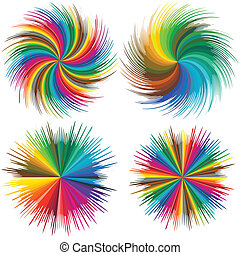 Color burst - Set of vector stars in full color range,...
