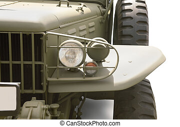 military car front  close up  isolated