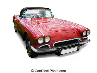 red car on white background - Ancient luxury red car on...