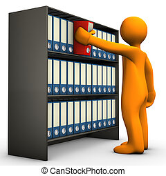 File Cabinet - Orange cartoon character springs a folder...
